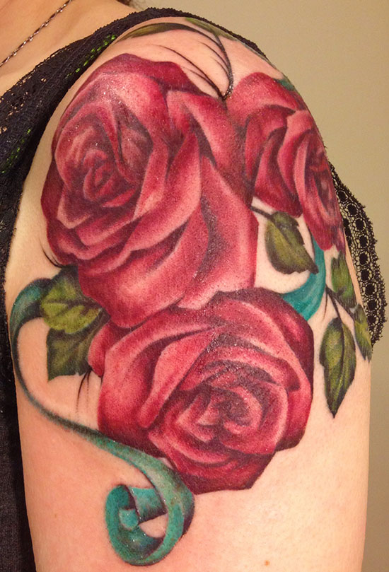 Roses With Teal Ribbons Pittsburgh Tattoo Studio