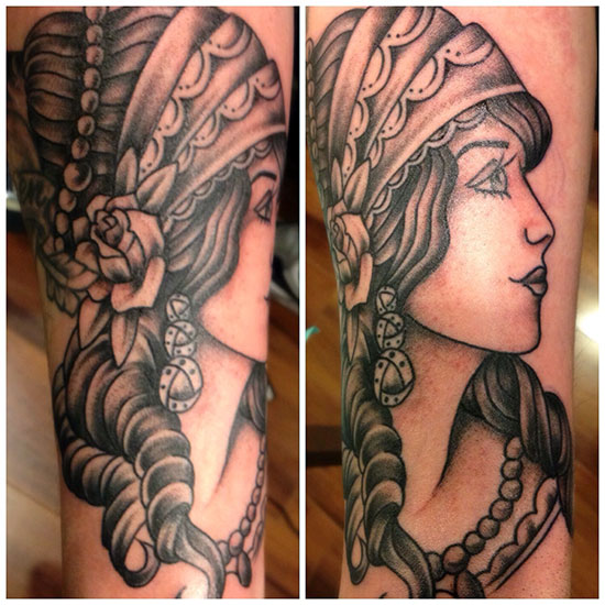 Traditional Black and Gray Gypsy - Pittsburgh Tattoo Studio